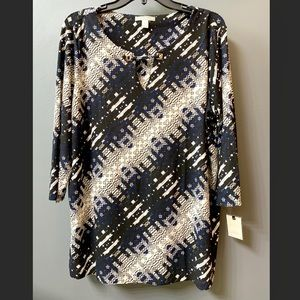 Keyhole Tunic, Blue Multi, Size XL, NWT